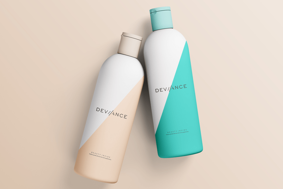 image showcasing 2 cosmetics bottles that have been coloured with muted teal and orange from graphic design trends of 2021