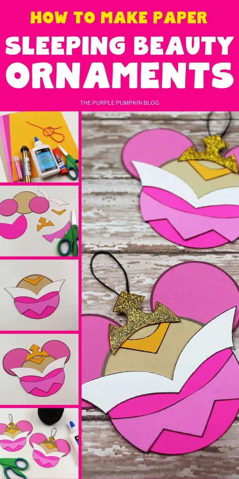 how to make paper Sleeping Beauty ornaments