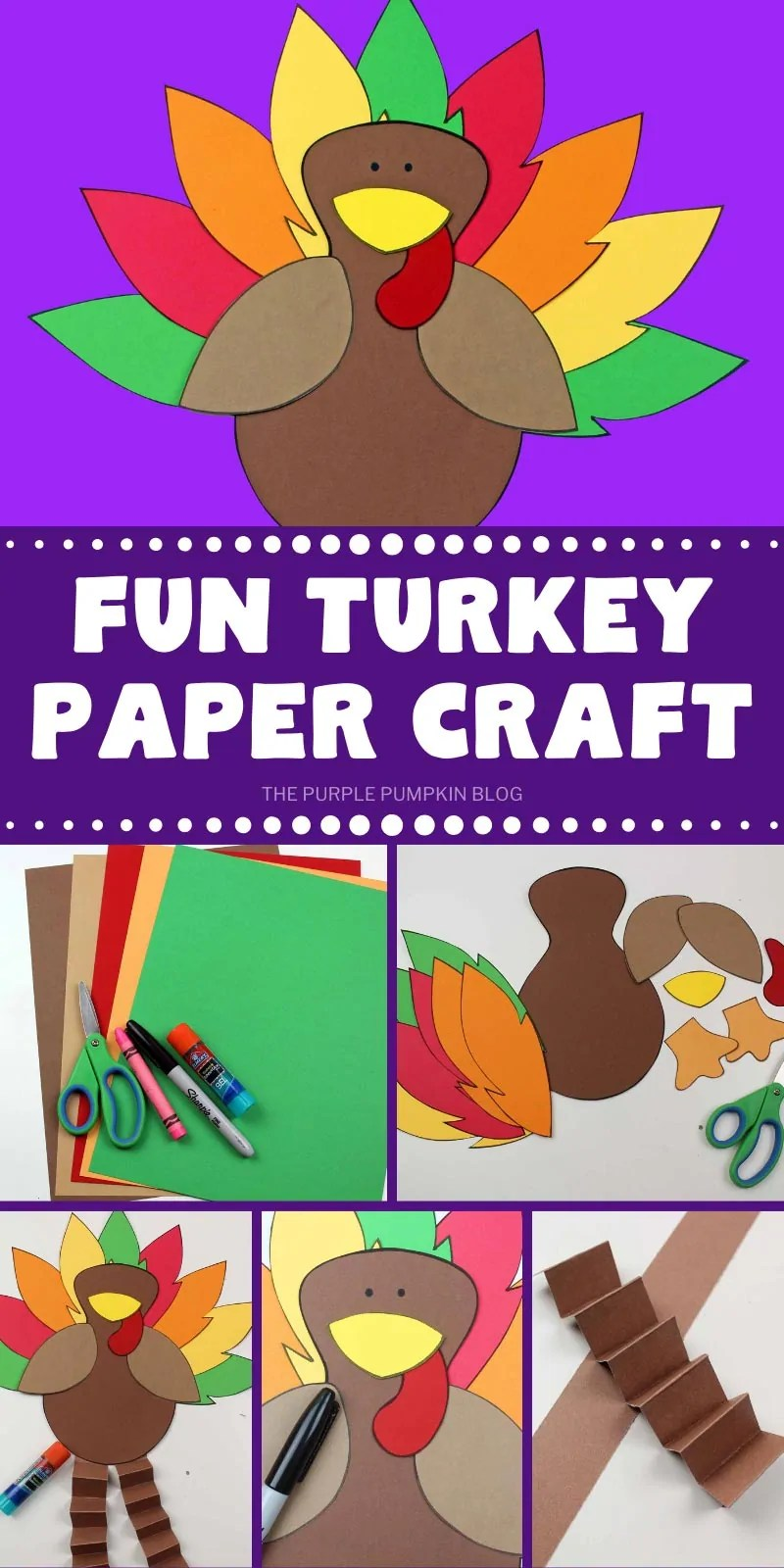 How to make a fun paper turkey with step by step photos.