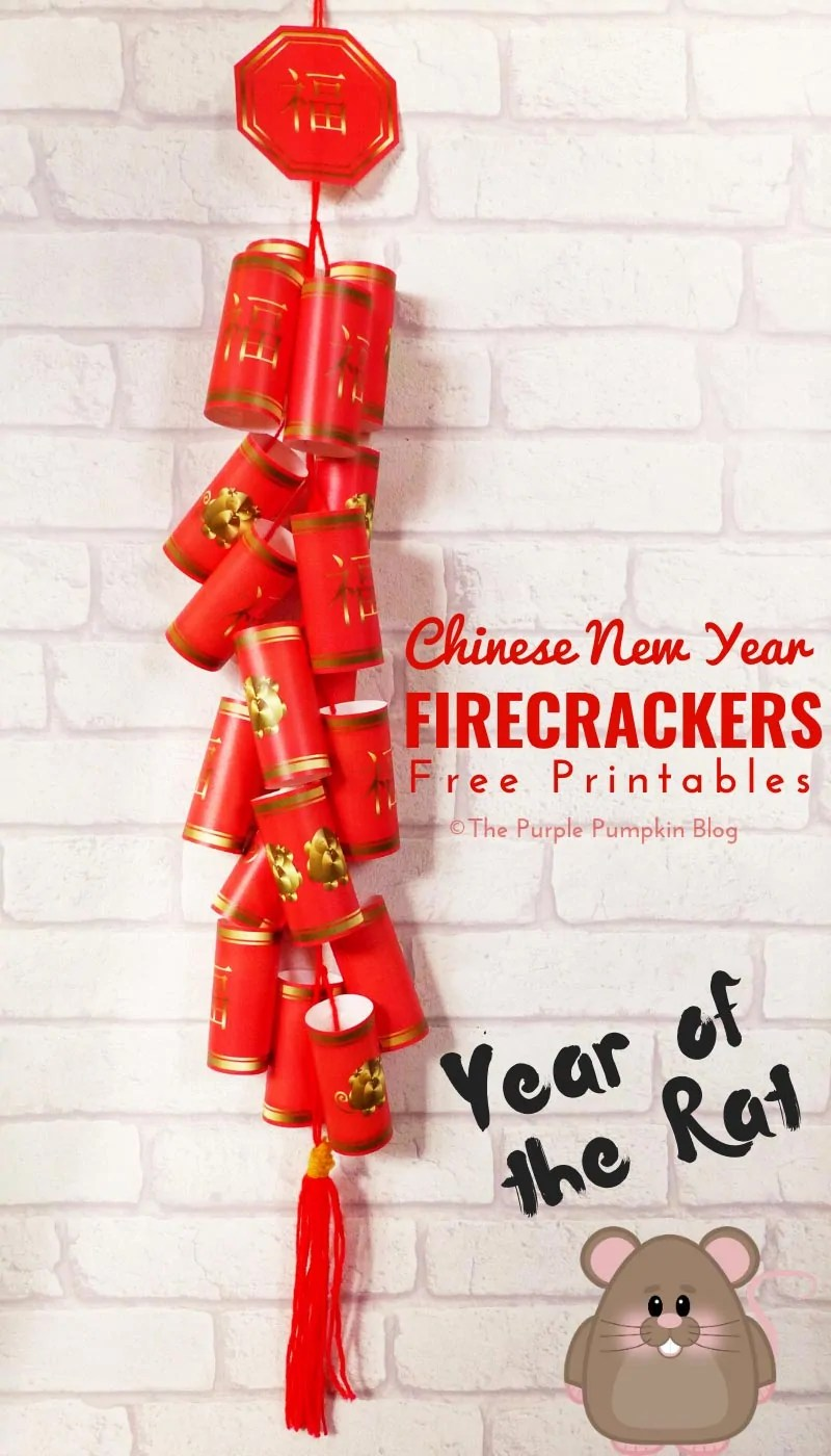 Chinese New Year Firecrackers - free printable craft updated for Year of the Rat