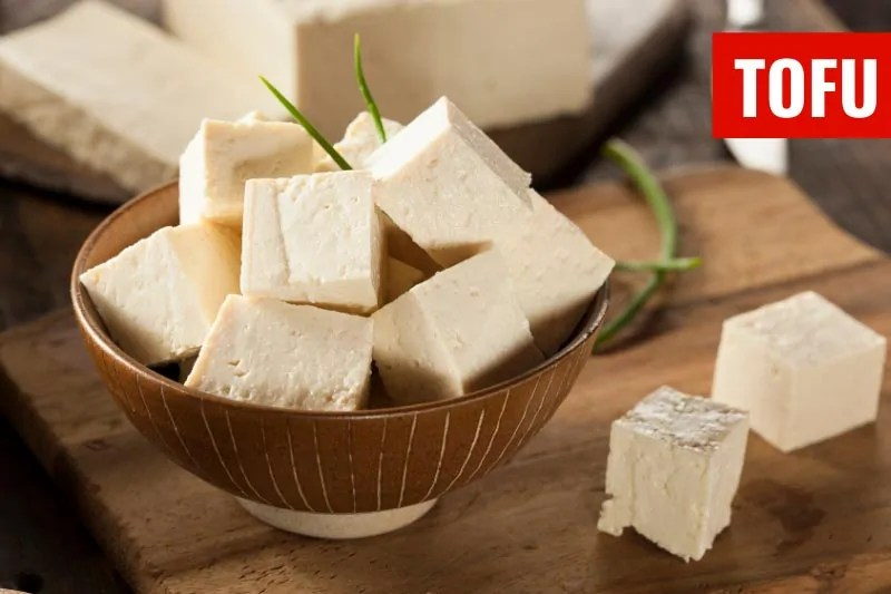 A bowl of tofu cubes