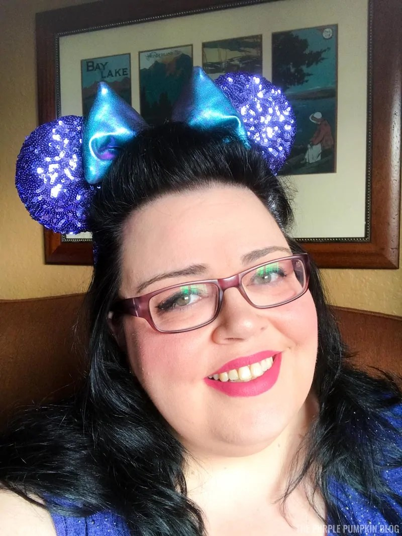 Me wearing Purple Minnie Ears