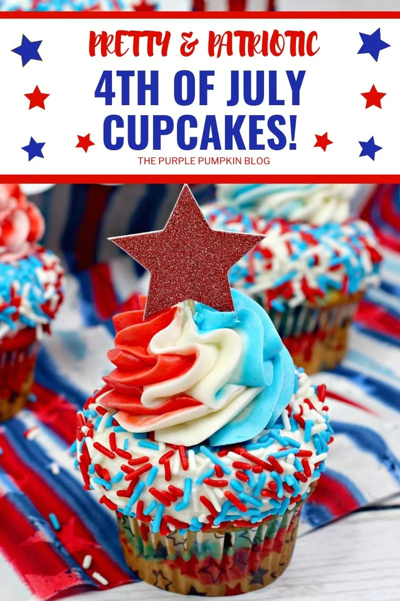 Cupcake decorated with red, white, and blue sprinkles, multi-colored frosting and a star topper.