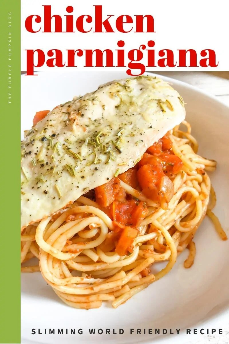 Chicken Parmigiana & Spaghetti Bake - a cooked chicken breast on top of a serving on spaghetti and tomato sauce. Same recipe featured throughout from different angles and with different text overlay.