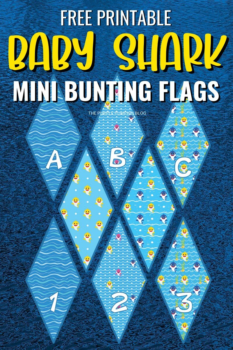 Free Printable Baby Shark Mini Bunting Flags