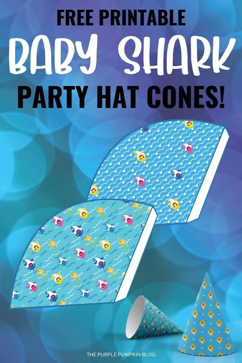 Free Printable Party Hat Cones for a Baby Shark Party