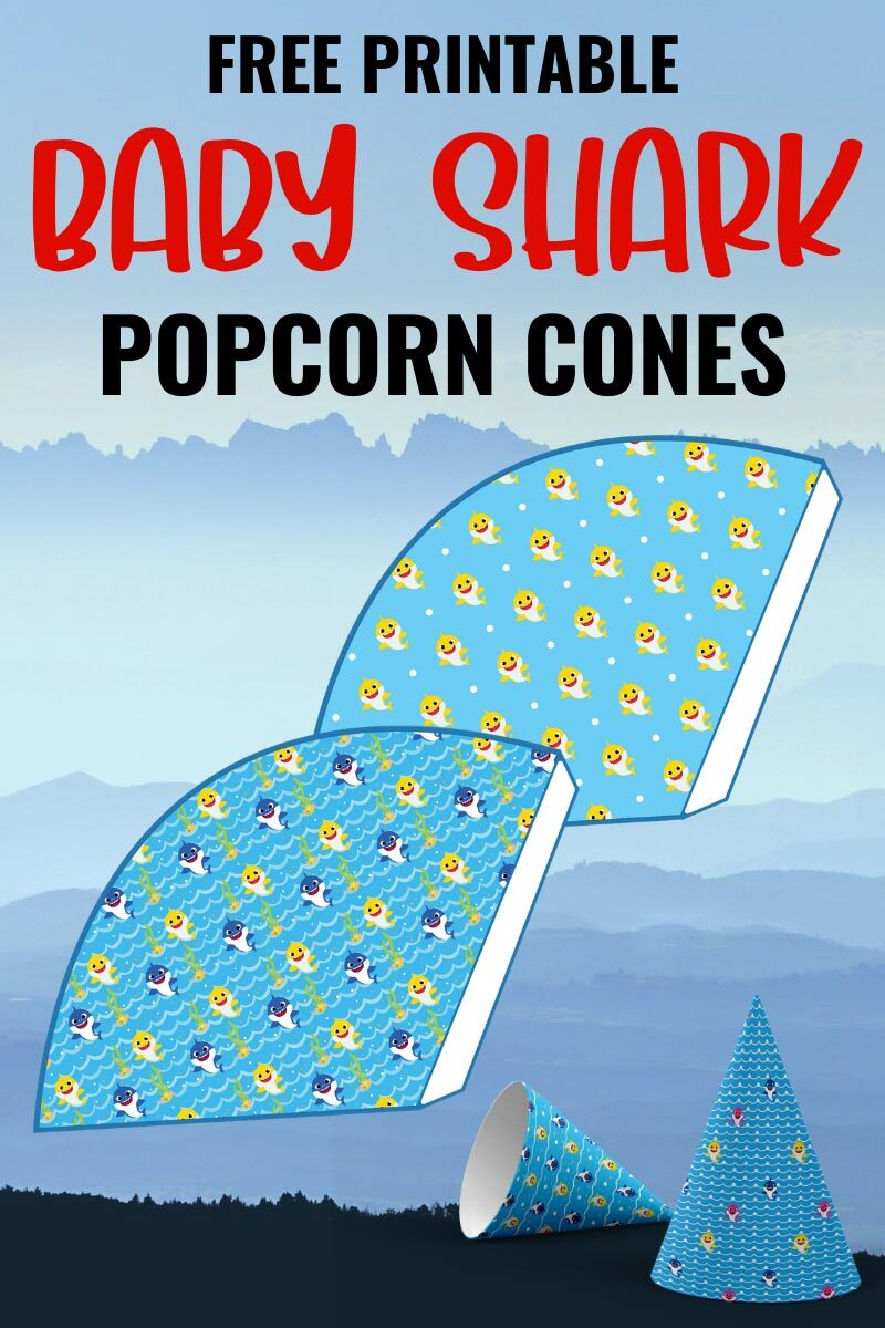 Free Printable Popcorn Cones for a Baby Shark Party