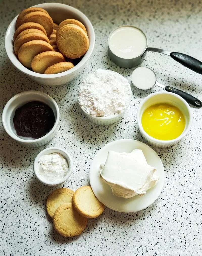Recipe ingredients - shortbread cookies, cream cheese, sugar, jam, lemon curd