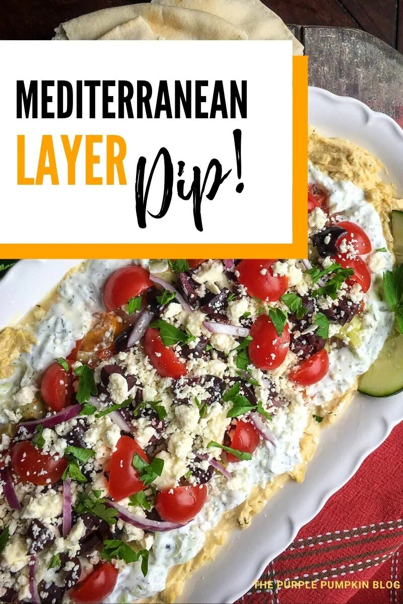 A platter of Mediterranean Layer Dip - hummus, greek yogurt, feta, kalamat olives, sliced tomatoes, onions, and cucumber. Photos of the recipe are similar throughout from various angles and with different text overlay unless otherwise described.