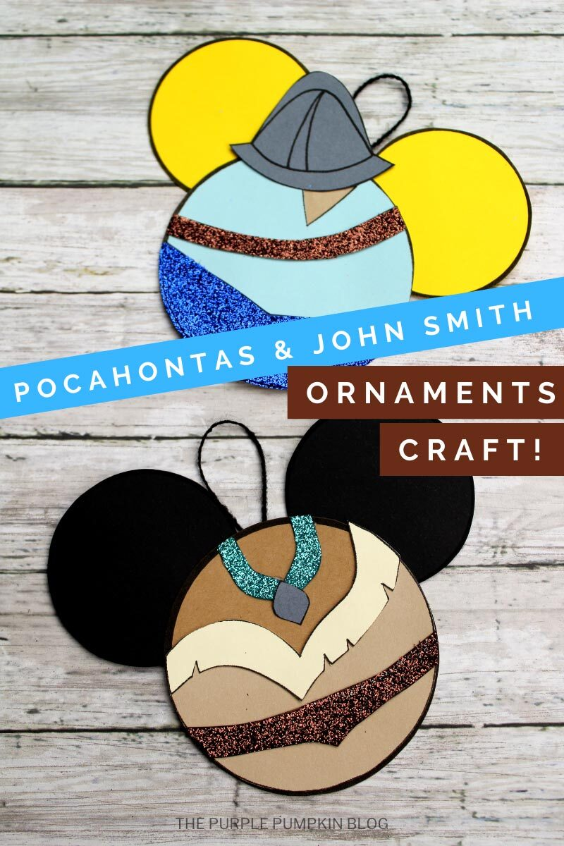 John Smith & Pocahontas Craft - paper christmas ornaments of each Disney character on a wooden background.