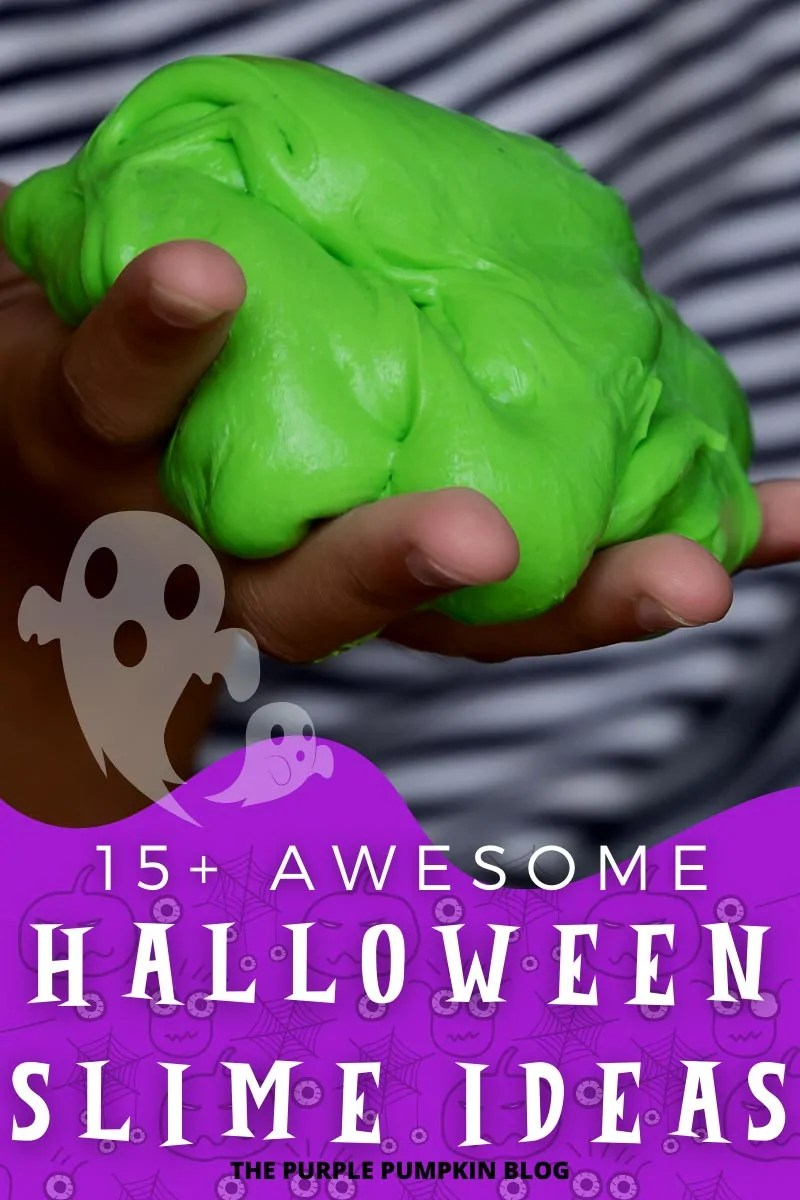 A kids hand holding green slime with text overlay saying