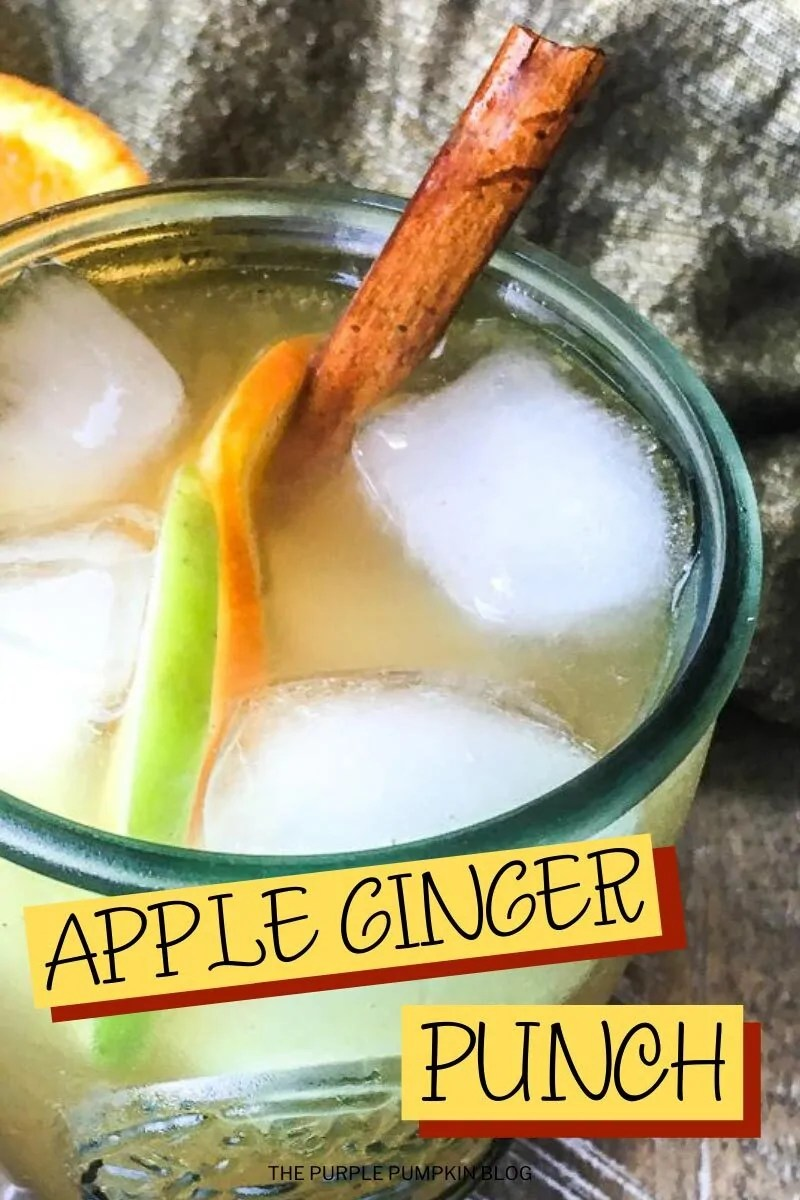 A glass of Apple Ginger Punch with ice, slices of apple and orange and a cinnamon stick.