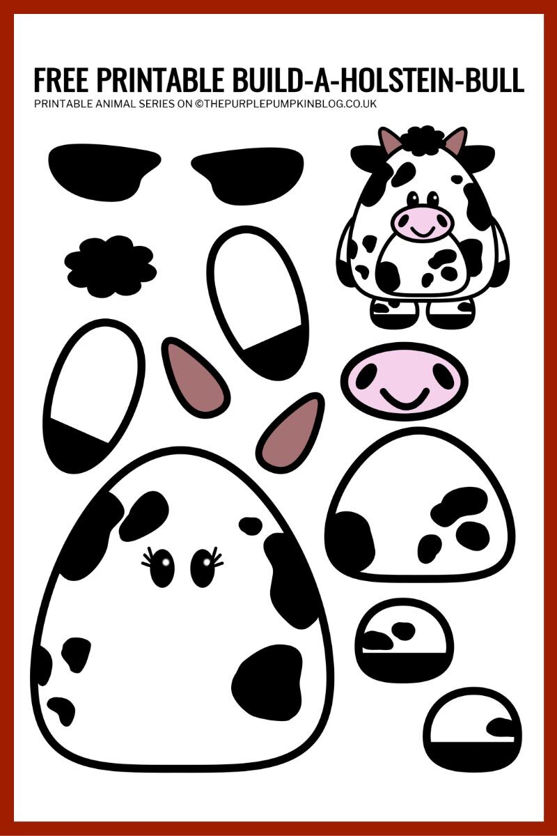 Free Printable Build a Holstein Bull Template