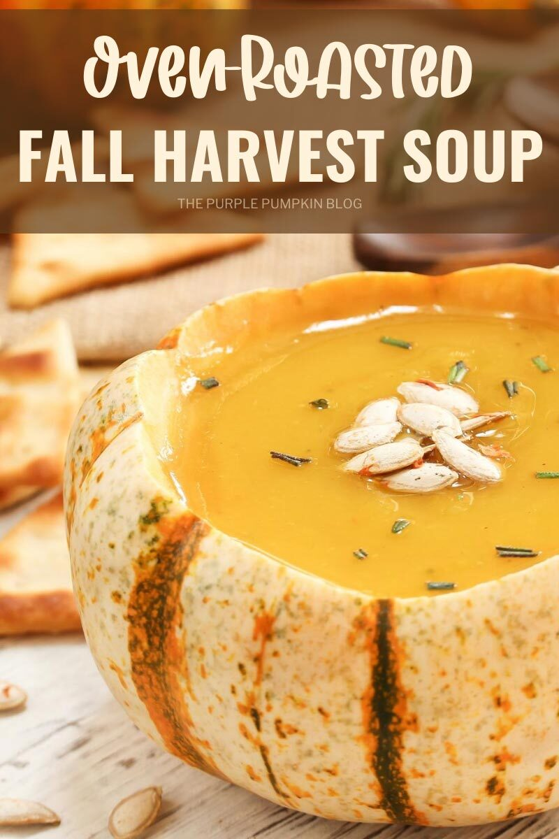Fall harvest soup served in a hollowed our squash topped with pumpkin seeds.