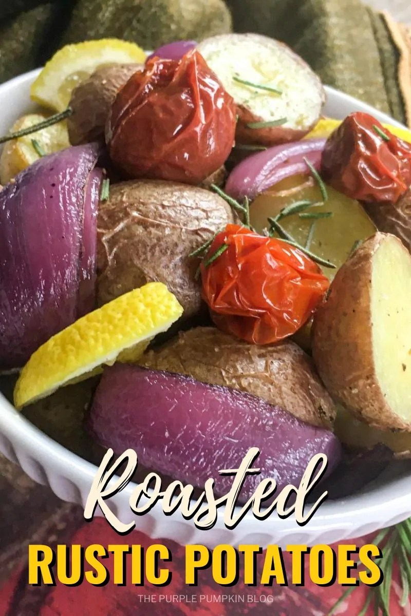 A bowl of roasted potatoes with cherry tomatoes and red onion. Seasoned and garnished with lemon slices and rosemary. Similar photos of the recipe/dish from various angles are used throughout and with different text overlay unless otherwise described.