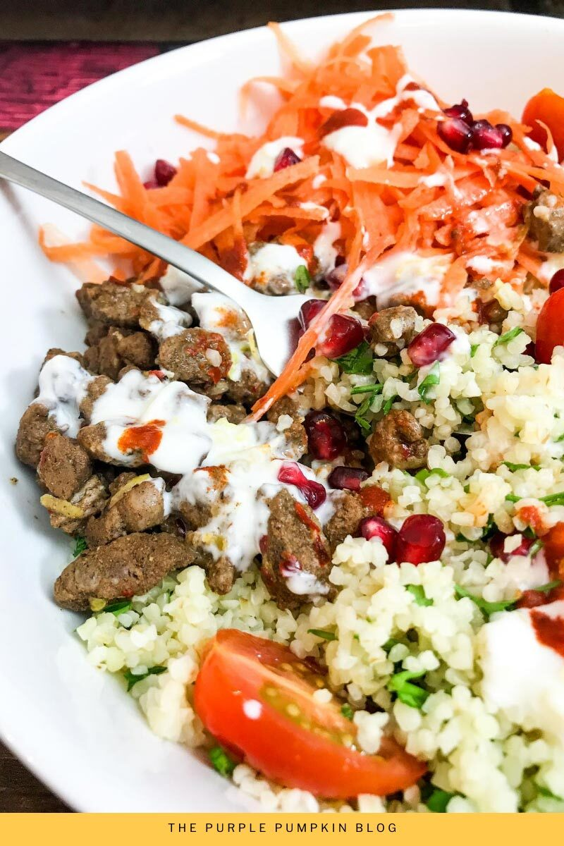 Moroccan Lamb Salad with Bulgur Wheat & Harissa Garlic Yogurt Dressing