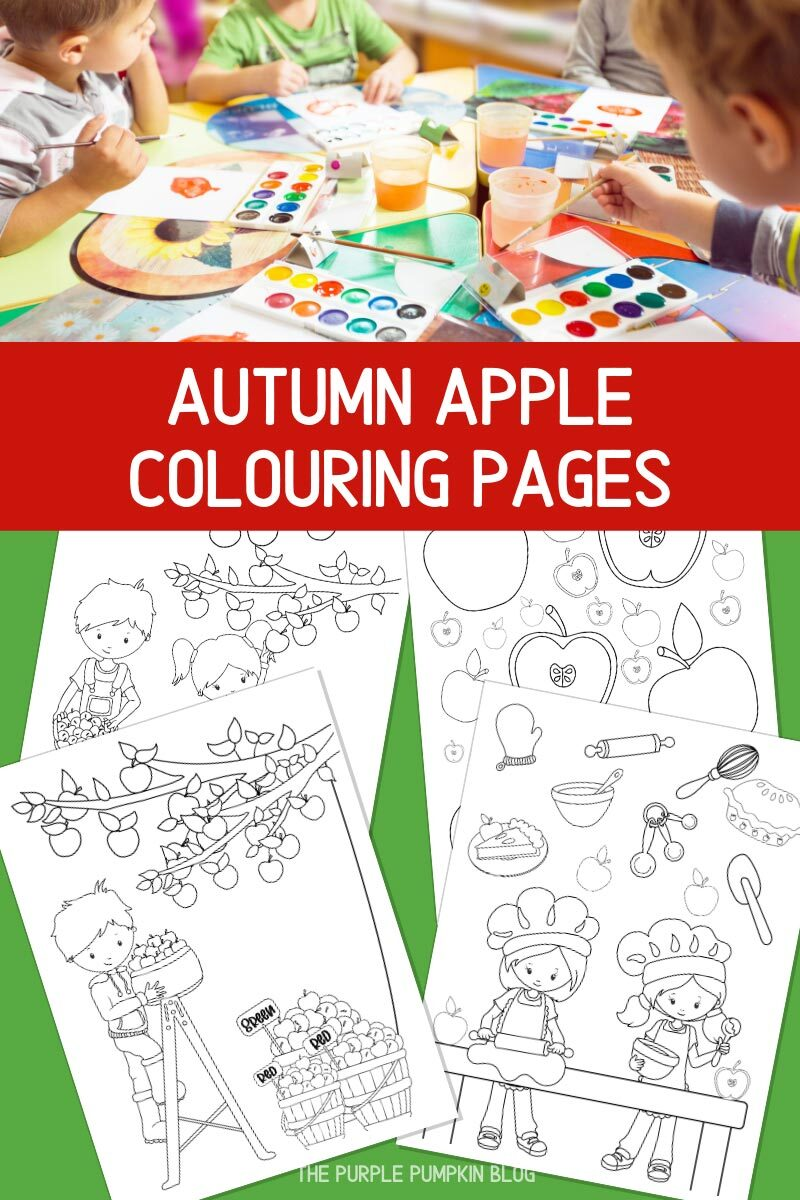 Autumn Apple Colouring Pages