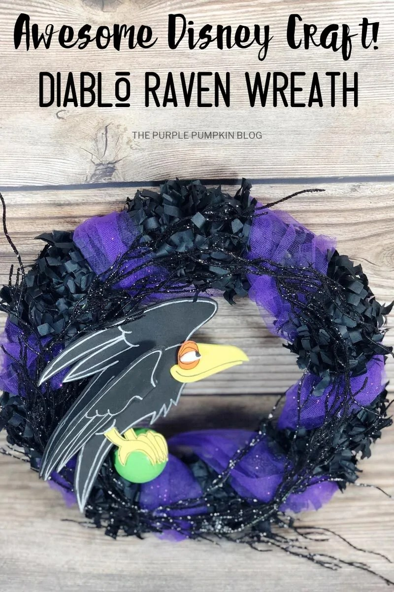 "A black and purple wreath with a craft foam raven. Text overlay says""Awesome Disney Craft! Diablo Raven Wreath"""