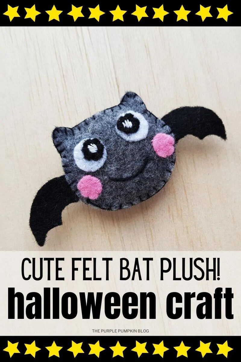"Dark gray felt bat with big eyes, pink rosy cheeks and black bat wings. Text overlay says""Cute Felt Bat Plush! Halloween Craft"""