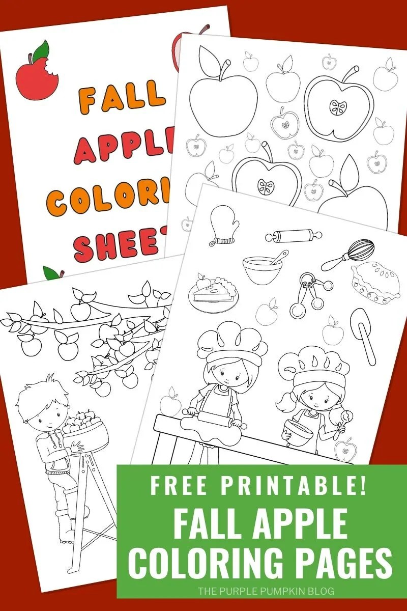 Free Printable Autumn & Fall Apple Coloring Sheets - Digital images of the coloring sheets (as described in the blog post.)