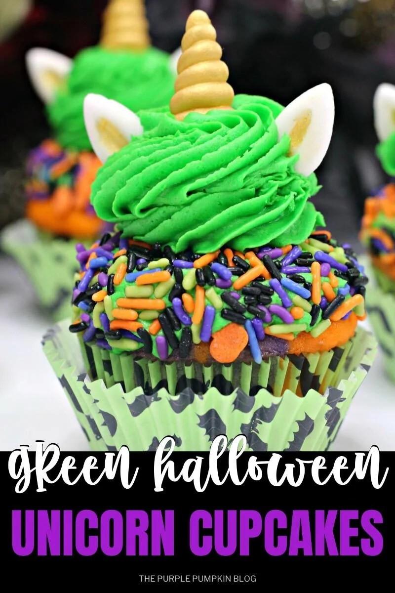 "A cupcake topped with green frosting and sprinkles, plus a swirl of green frosting and unicorn ears and horns made from fondant. In a bat-themed cupcake liner. Text overlay says""Green Halloween Unicorn Cupcakes"". Same cupcake featured throughout with different text overlay.,"