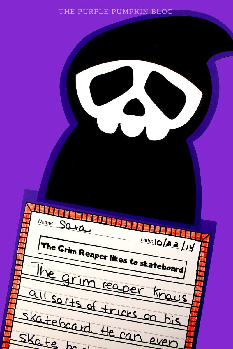 Grim Reaper Paper Craft & Writing Prompt Activity