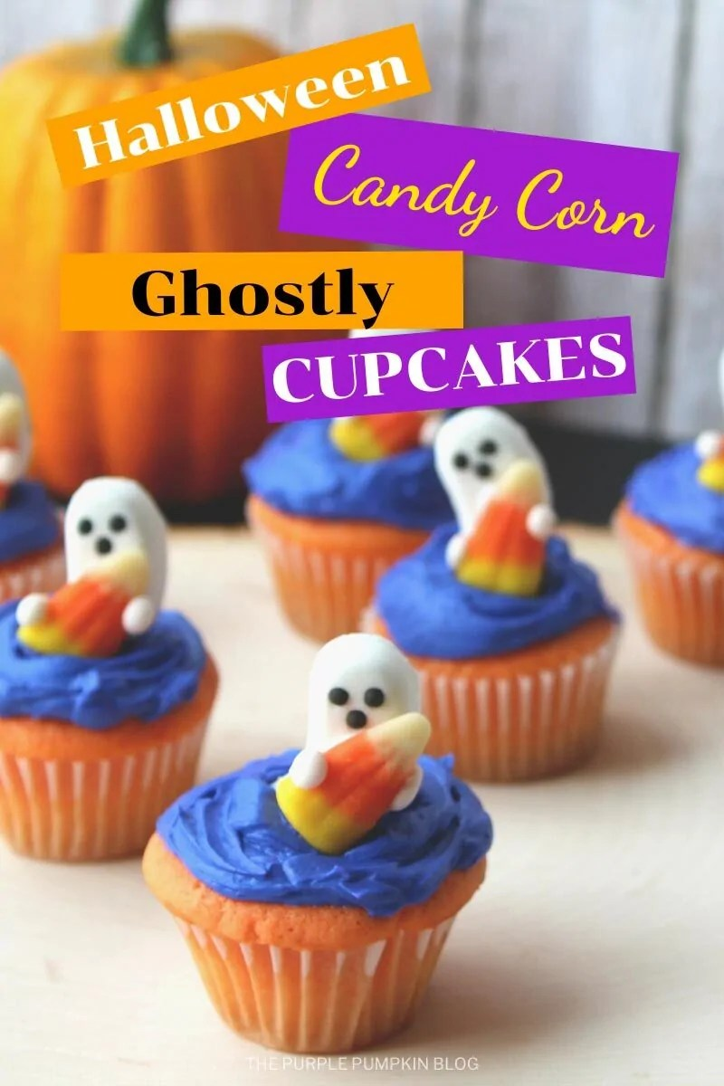 "Orange cupcakes topped with purple frosting and icing ghosts holding candy corn. Text overlay says""Halloween Candy Corn Ghostly Cupcakes"" Similar photos of the recipe/dish from various angles are used throughout and with different text overlay unless otherwise described."
