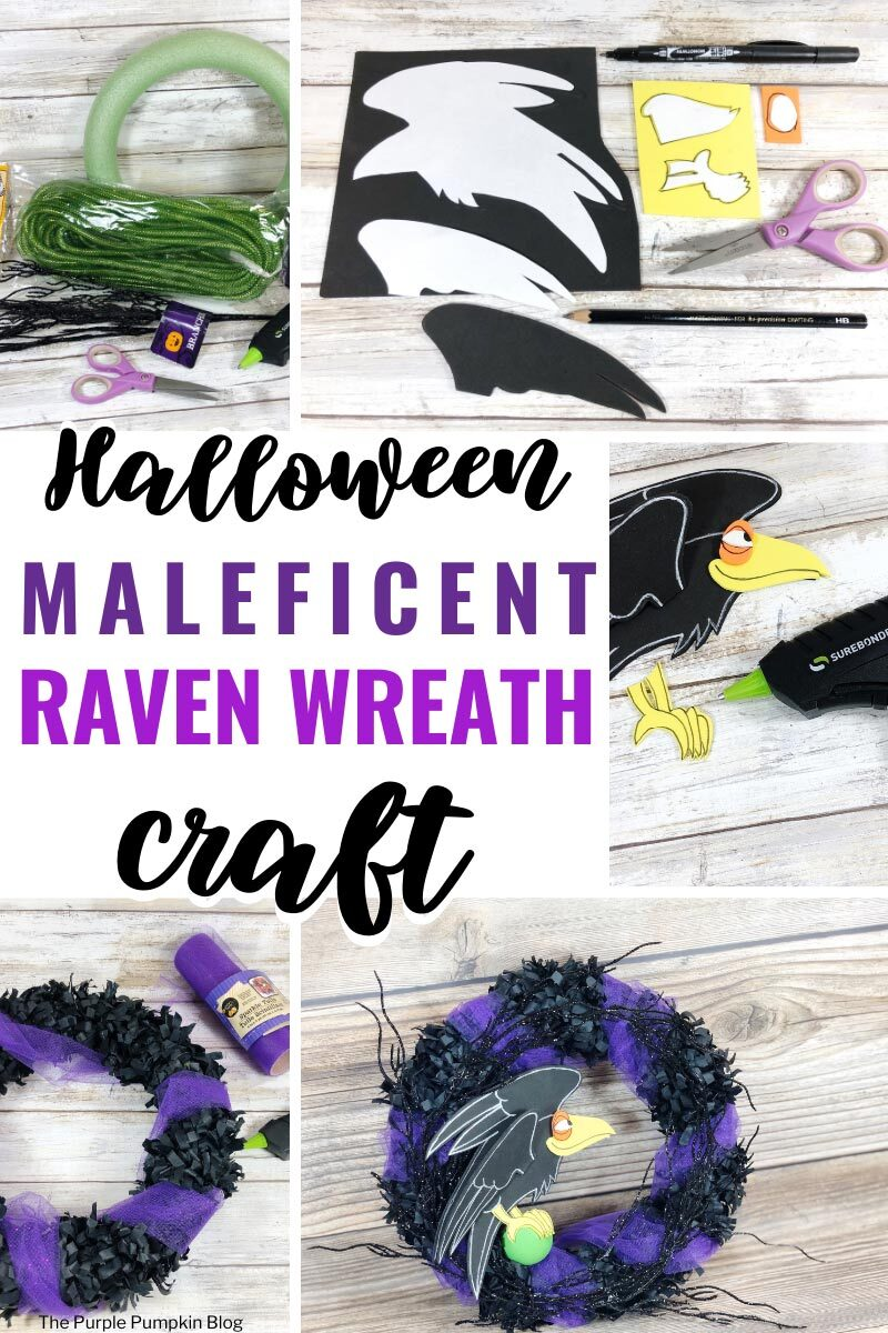 "Collage of images with steps to making this craft with the craft supplies, the template laid on craft foam, the craft foam raven assembled, the construction of the wreath, and the final wreath. Text overlay says""Halloween Maleficent Raven Wreath Craft"""