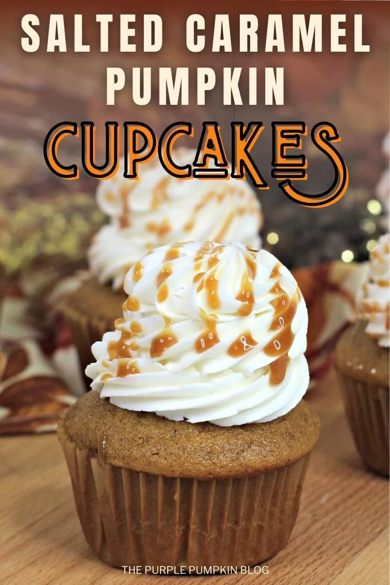 "Pumpkin cupcake topped with salted caramel frosting and drizzled with caramel sauce. Text overlay says""Salted Caramel Pumpkin Cupcakes"". Similar photos of the recipe/dish from various angles are used throughout and with different text overlay unless otherwise described."