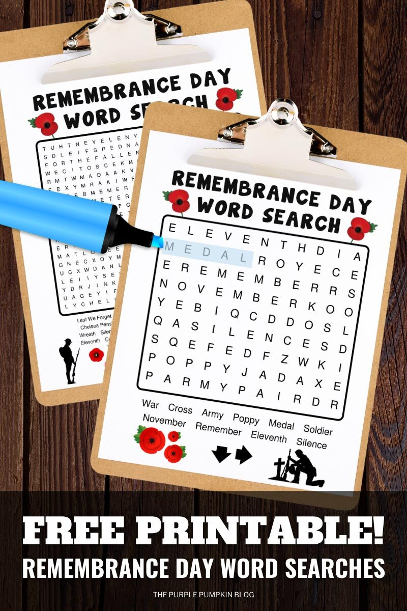 Free Printable Remembrance Day Word Searches