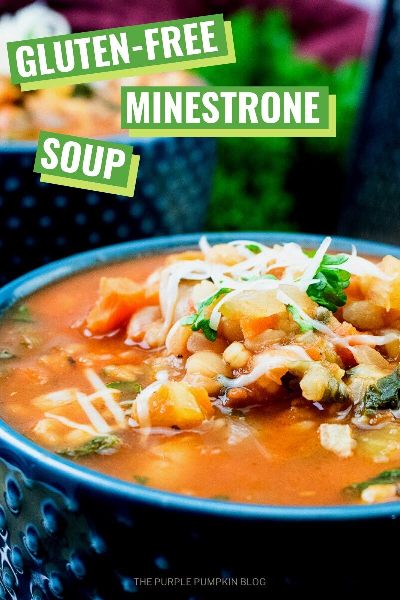 Closeup of bowl of Gluten-Free Minestrone Soup