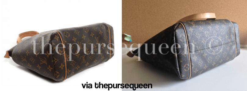 authentic vs replica louis vuitton totally fake vs real lv comparison bottom  of bag a3c76342fb485