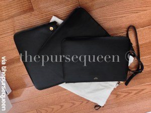 celine trio seperated pouches black leather authentic replica 2