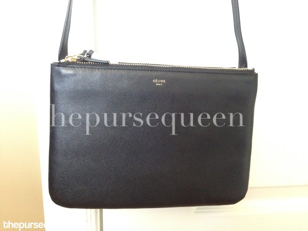 closeup celine trio leather black authentic vs replica