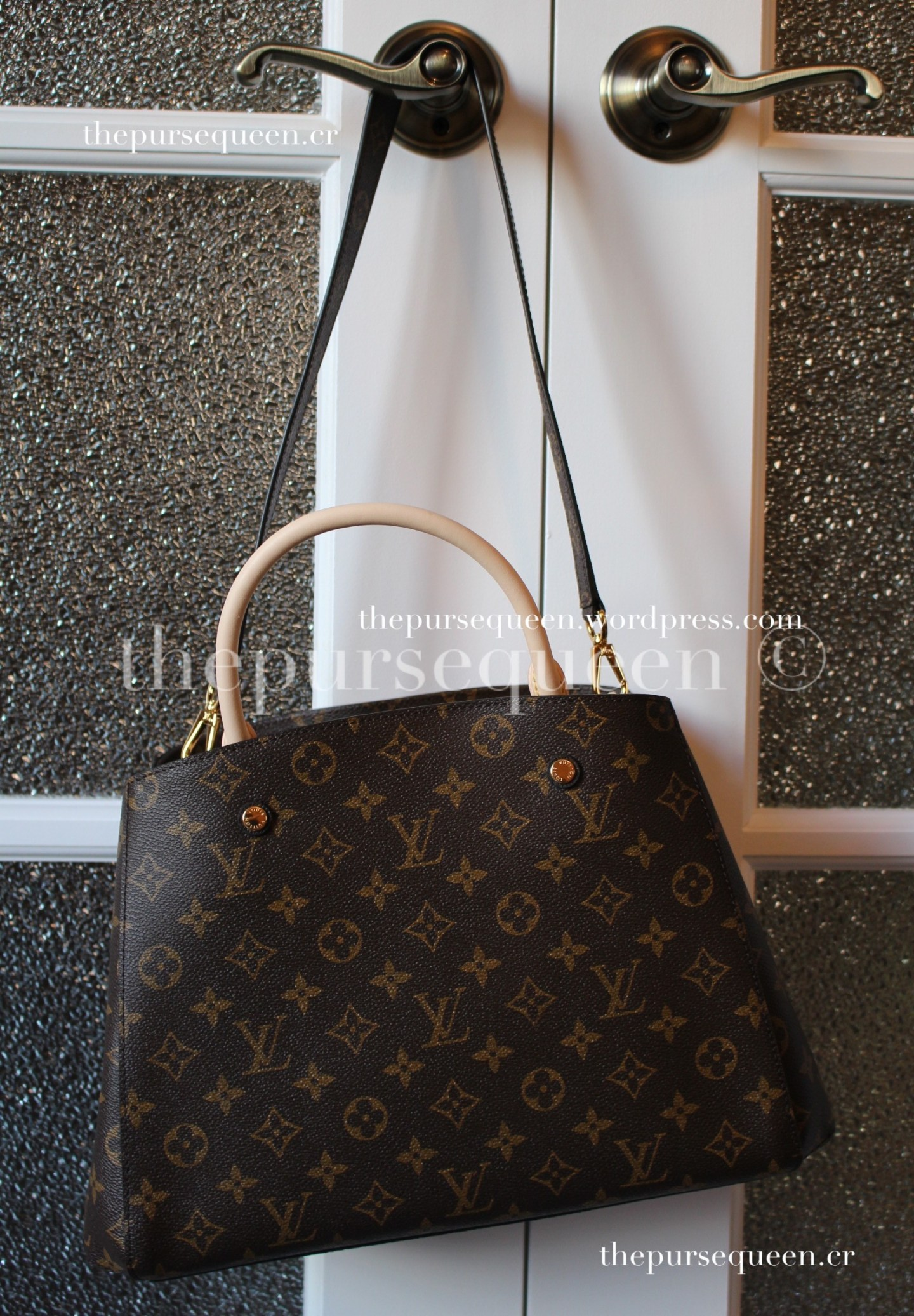 louis vuitton montaigne replica #replicabag #replicabags bag hanging counter quality
