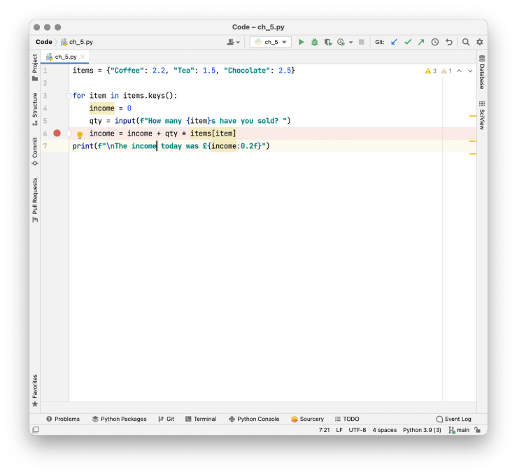 Using PyCharm's visual debugger to deal with errors and bugs