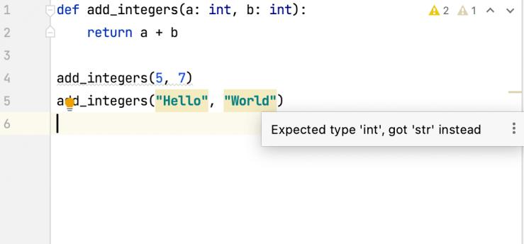 Type hinting warnings in PyCharm IDE