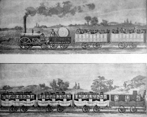 The first passenger carriage in Europe, 1830, George Stephenson´s steam locomotive, Liverpool and Manchester Railway