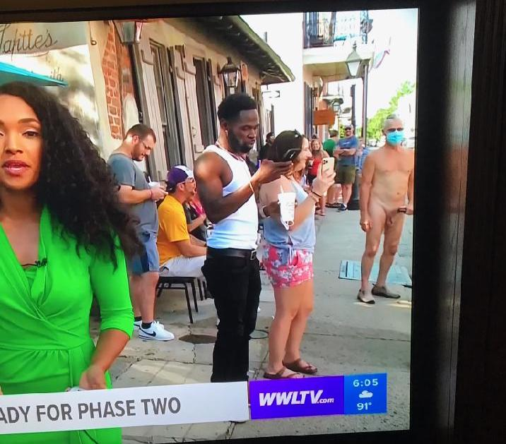 WWL shows naked guy in front of Lafitte's bar on live TV