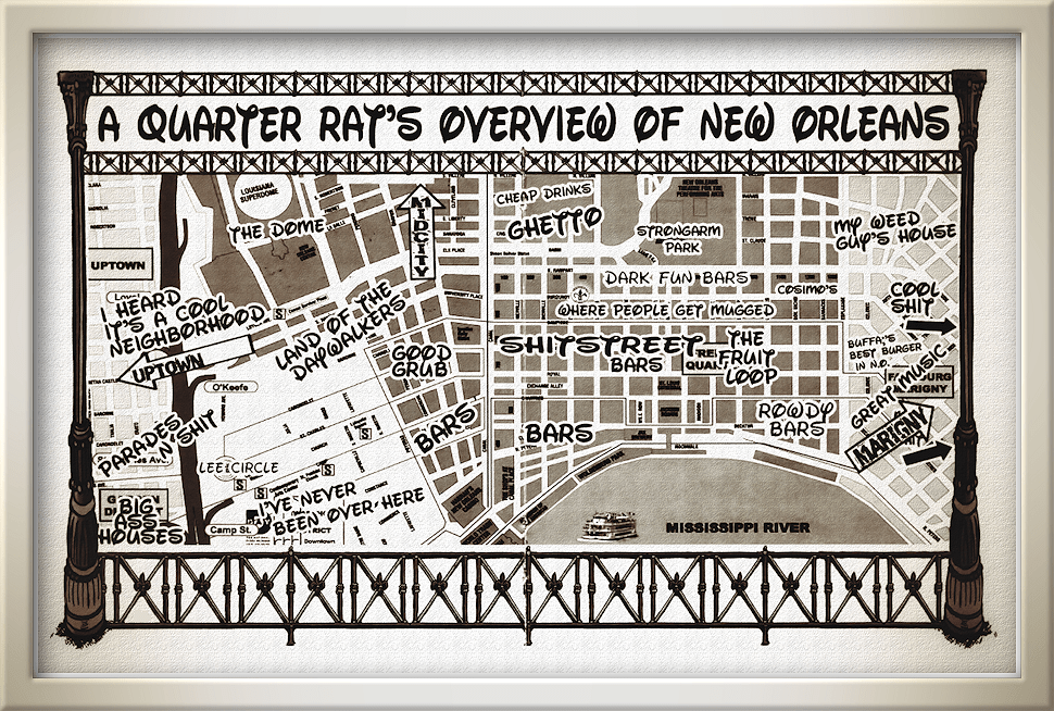 A Quarter Rat throwback tourist map to the Vieux Carre, and some other parts of New Orleans