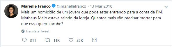 Marielle Twitter Comment