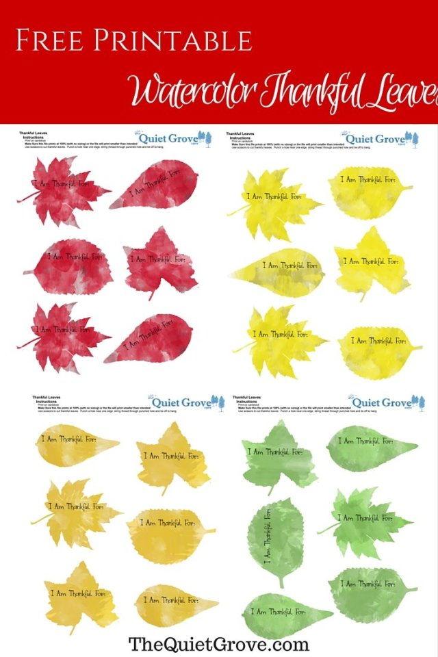 Watercolor Thankful Leaves Free Printable