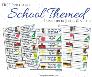 FREE Printable School Themed Lunchbox Jokes & Notes for Kids!