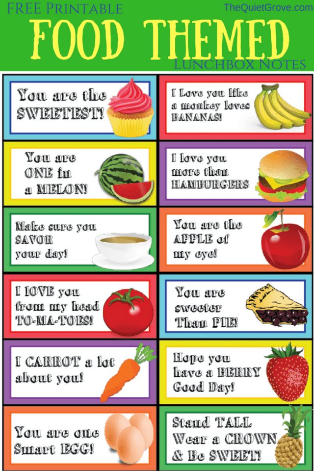Food Themed Lunchbox Notes