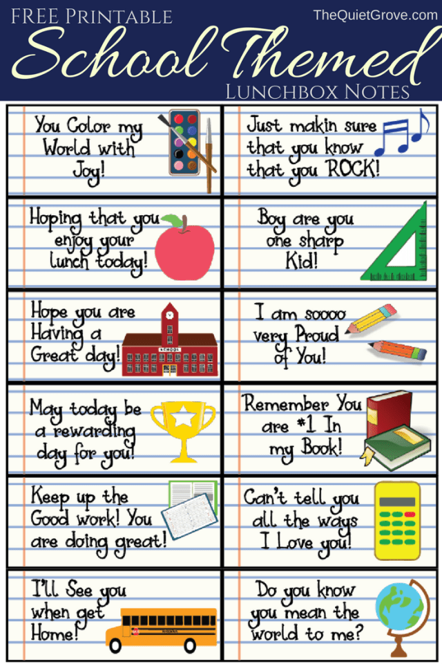 School Themed Printable Lunch Box Notes!
