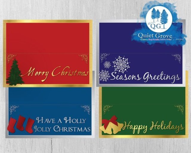 INSTANT DOWNLOAD Christmas Bag Toppers with Christmas Messages and Illustrations//Gold and Silver//Red, Blue, Green, & Purple// No. 238
