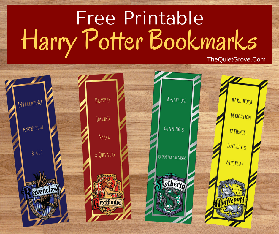 FREE Harry Potter Printable Bookmarks The Quiet Grove