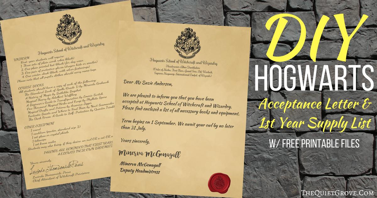 harry potter diy hogwarts acceptance