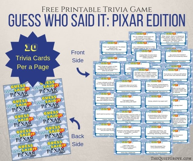 Free Printable Guess Who Said It Pixar Edition The Quiet Grove