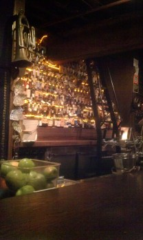 One half of the wall of whisky.